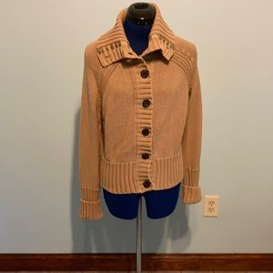 American Eagle button down light brown or tan sweater. Fits like an adult medium
